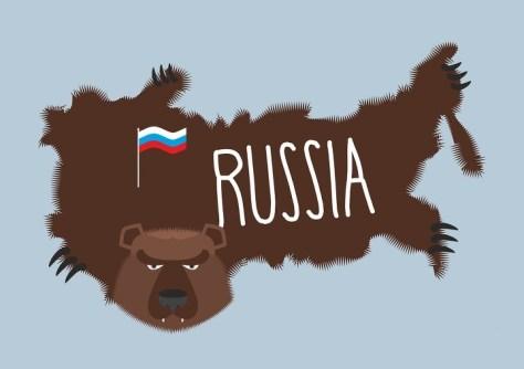A bear-like map of Russia.