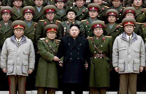 Kim Jong Un and his military entourage.