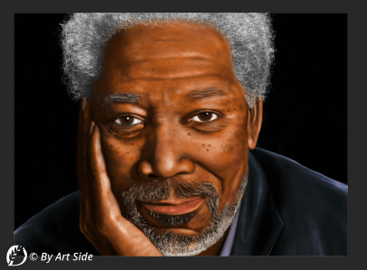 "Dantebus - ""Ritratto Morgan Freeman - tavoletta grafica"" By art side"