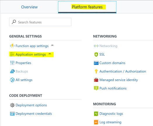 Azure Function App Settings