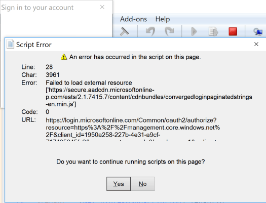 Error Signing into AzureRM via PowerShell