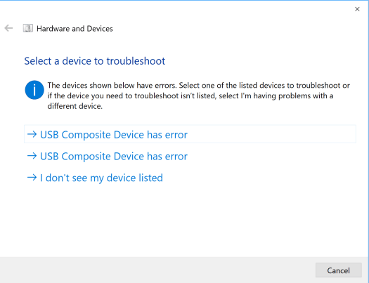 USB Composite Devices has error