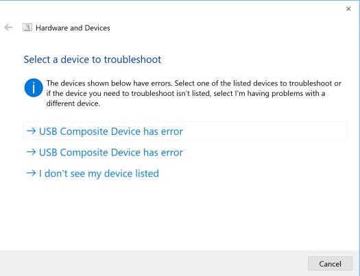 USB Composite Devices has error