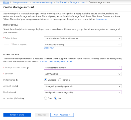 New Storage Account for Azure Static Website.PNG