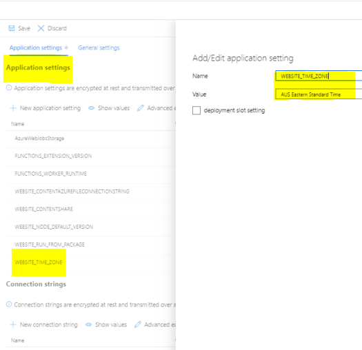 Snippet - Azure Function Application Settings for Timezone