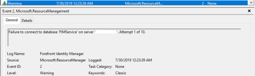 Failed to connect to FIM Service Database.PNG