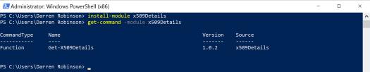 x.509 Certificate Details PowerShell Module cmdlet Get-X509Details