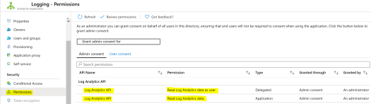 Custom Log Data to Azure AD Enterprise App Log Analytics API Permissions