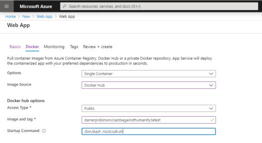 Create new Azure Web App - Configuration Docker