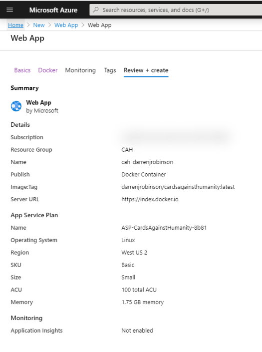Create new Azure Web App - Configuration Review and Create