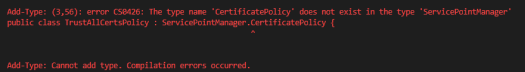 The type name 'CertificatePolicy' does not exist in the type 'ServicePointManager'