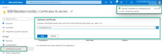 Upload Certificate to the Azure AD Registered Application