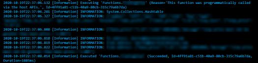 PowerShell Azure HTTPTrigger Function Successfully ran