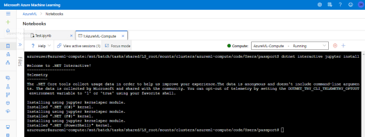 Install .NET Interactive for .NET Interactive Kernels in AzureML