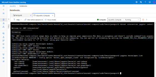 Install .NET Interactive for Jupyter for .NET Interactive Kernels in AzureML
