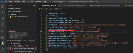 Azure AD Change Notification Azure AD Query