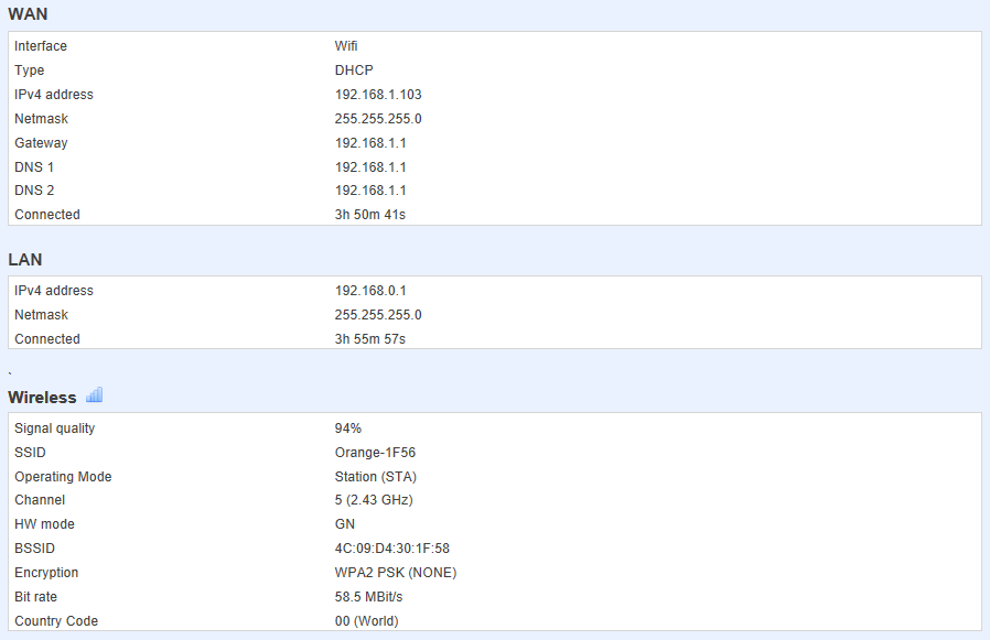 network status - ¿ Cómo configurar mi router móvil para conectarse por WiFi a otro router ?