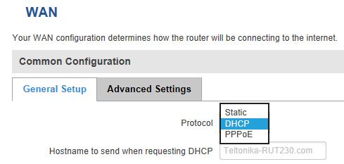 WAN IP settings - ¿ Cómo usar un router Teltonika como un terminador VPN ?