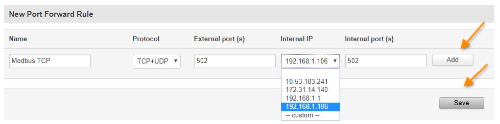 port forwarding2 - Guía de configuración rápida para routers Teltonika
