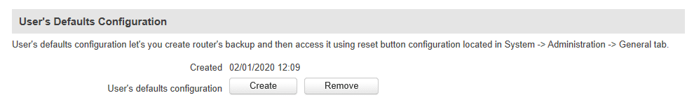 create user default - ¿ Cómo crear un perfil de usuario recuperable mediante el botón de reset ?