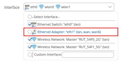 Ethernet adapter in lan interface - ¿ Cómo configurar el puerto WAN como LAN en la familia RUTX ?