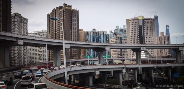 Huangpu River Bridge road spiral Shanghai