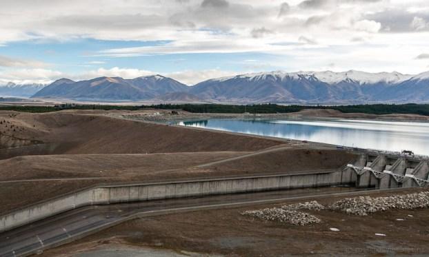 Pukaki dam slipway with Ben Ohau Range beyond
