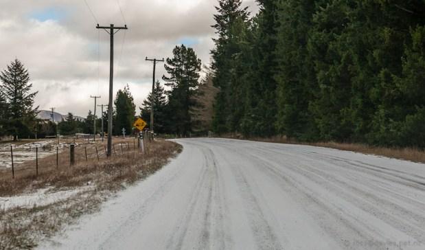 Snow on the road through Ashburton Gorge