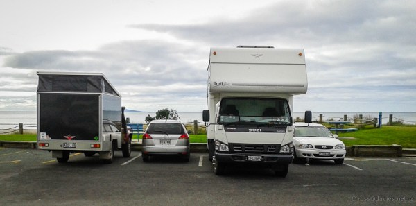 Parked up at Waihi Beach