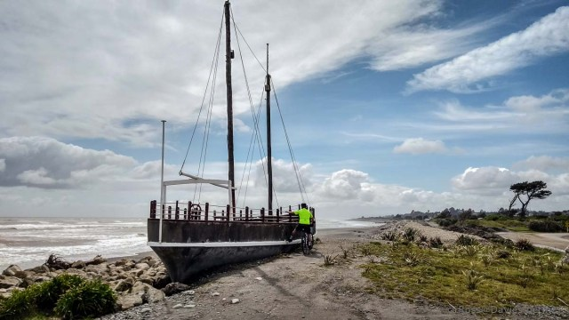 Wreck at mouth of Hokitika River