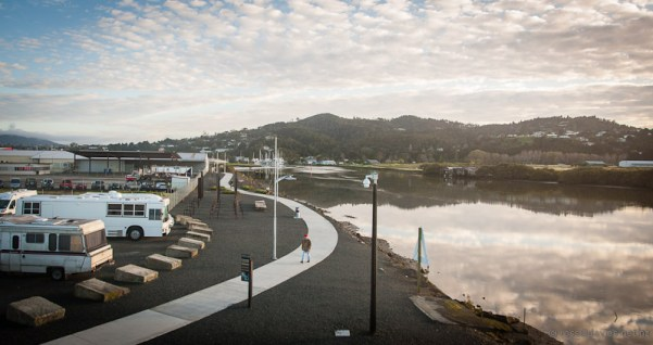 Sunrise Hatea River Whangarei - the new walkway from the new bridge