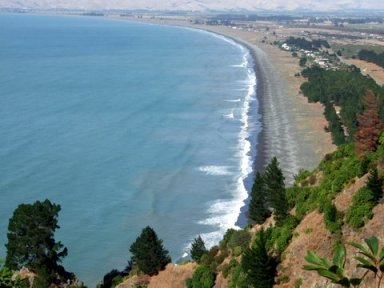 Rarangi Beach from the road above