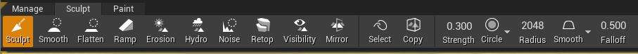 a screenshot showing the sculpt tools in Unreal