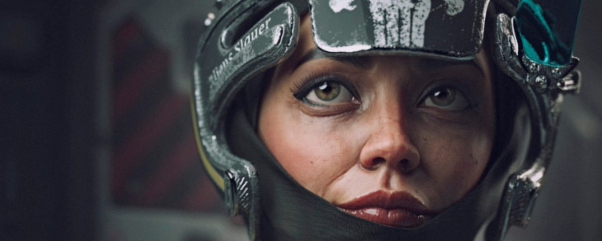 a female 3D model in a military-grade style helmet