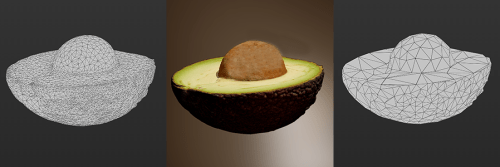 three images side by side displaying a rendered avocado and two different meshes