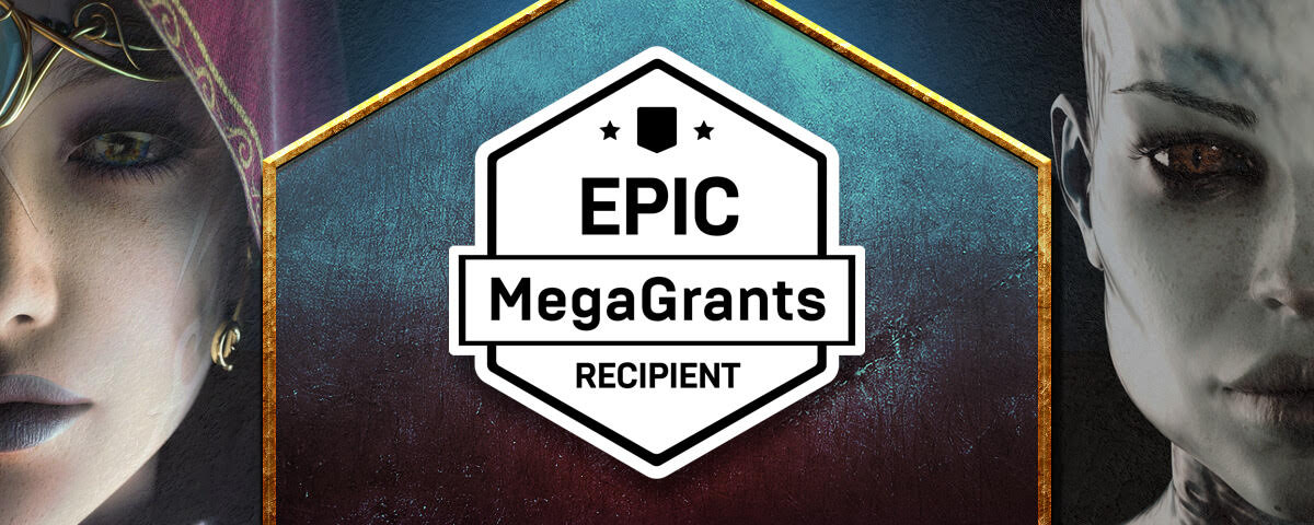 """an image with two 3D faces on the sides and a badge stating """"Epic MegaGrants Recipient"""""""
