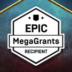 "an image with two 3D faces on the sides and a badge stating ""Epic MegaGrants Recipient"""