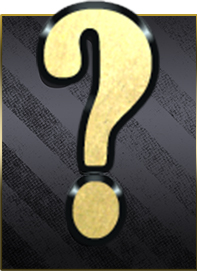 a gold question mark on a black and charcoal striped background
