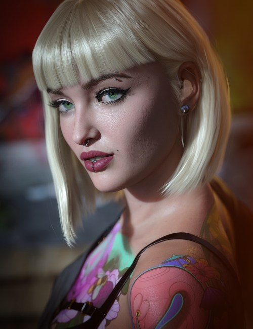 a closeup of Victoria 8.1, one of Daz's first characters with a disability, wearing her hearing aids