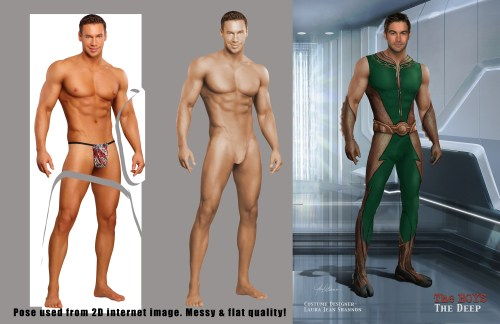 3 images showing the old way a costume concept artist created designs