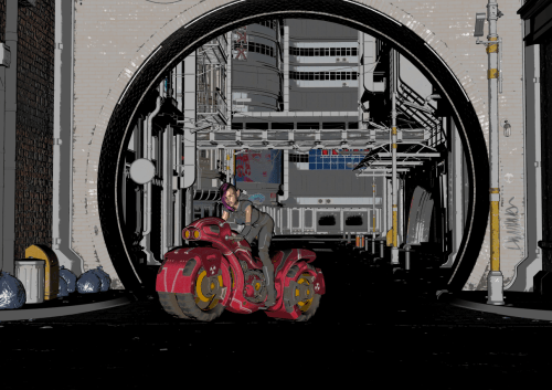a shaded cartoon based on a Daz 3D scene
