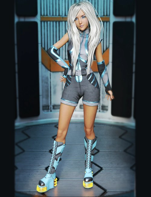 a render of Aiko 8 with platinum hair and futuristic clothing