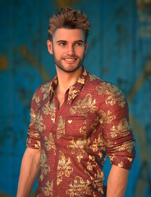 Michael 8.1 in a button-up shirt in front of a blue background
