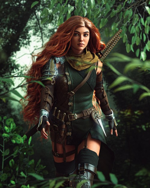 a woman with long, red hair wearing armor and weapons in a densely-forested area