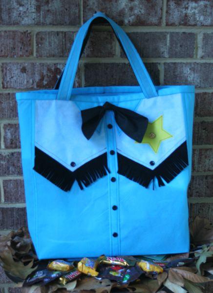 Faux Leather Fringe Cowboy Treat Bag Front Web
