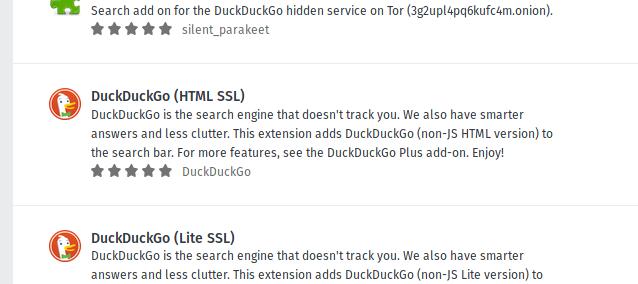 The DuckDuckGo (HTML SSL) add-on search result.