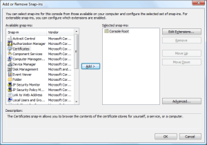 Add certificates snap-in to MMC
