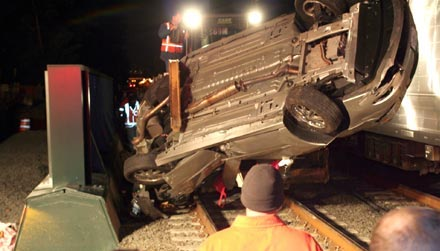 Train and car collision in Mineola, image from Newsday.com