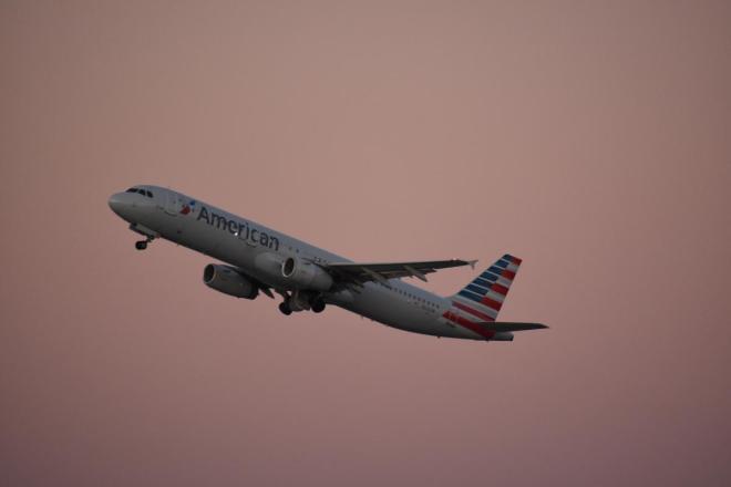 American Airlines in Sunset