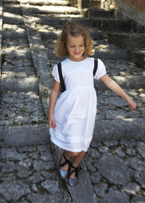 Gabrielle running down the stairs at Vizcaya today.
